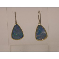 Gold & Silver earrings with Opal